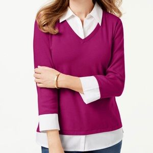 Karen Scott Cotton Layered 3/4 Sleeve Knit Top